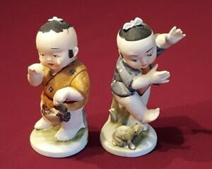 Bisque Porcelain Asian Boy Figurines With Turtle And Crab