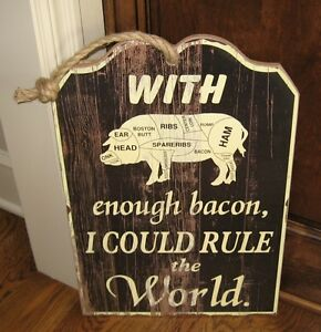 Big Wood Pig Butcher Chart Bacon Sign Primitive French Country Farmhouse Decor