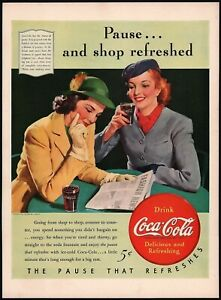 Vintage magazine ad COCA COLA 1940 Pause and Shop Refreshed 2 women pictured