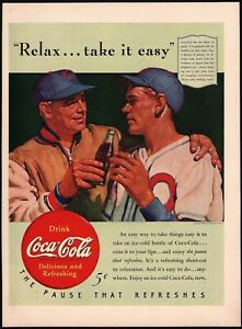 Vintage magazine ad COCA COLA 1940 Relax Take It Easy baseball player and coach
