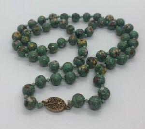 Vintage Necklace Cloisonne Bead Knotted Green Enamel Chinese 27 Flower