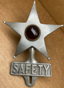 Rare Old Safety Star Aluminum License Plate Topper Dual Function Red Led