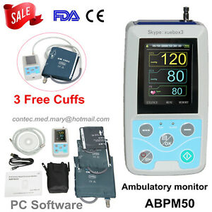 Contec Abpm50 Ambulatory Blood Pressure Monitor 24 Hours Care 3 Cuffs Ce Fda Us