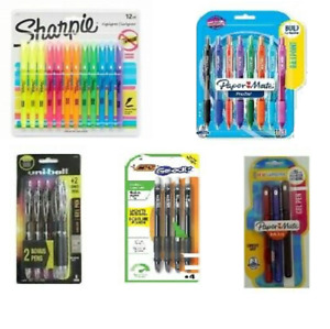 5 Packs Of Pens 33 Ct Gel Multi color Highlighters Bic Papermate Sharpie
