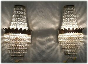 Pair Vintage Empire Style Faceted Crystal Brass European Wall Petite Sconces