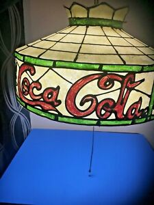 Vintage (1960-1970)  COCA-COLA Tiffany Style Plastic Hanging Lamp Light