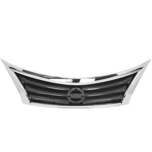 For 13 14 15 Nissan Altima Front Bumper Grille Assembly Chrome Surrounding