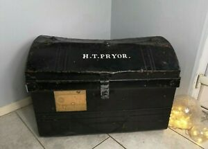 Vintage Domed Top Black Painted Tin Metal Travel Case Trunk 19 5 H 27 W