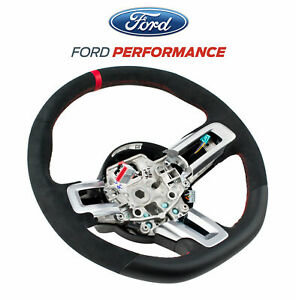 2015 2017 Mustang Gt Ecoboost Steering Wheel Leather Suede W Red Stitching