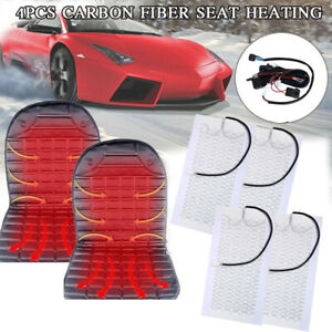 2 Seat Cars Carbon Fiber Heated Cushion Seat Heater Pad Hi off lo Switch Kit 12v