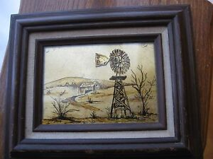 Reverse Glass Foil Tinsel Painting Vintage Wood Frame Signed