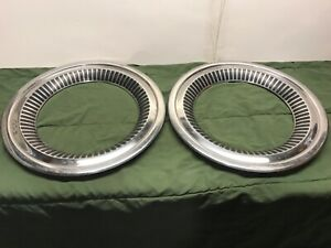1950s 1960s Vintage Classic Hubcap 17 Wheel Cover Trim Rings Pair 2