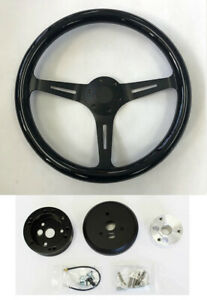 1970 73 Blazer C10 C20 C30 Pick Up 15 Black Wood Steering Wheel On Black Spokes