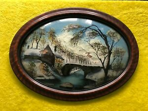 Vintage Convex Glass Antique Tiger Stripe Picture Frame Reverse Painted Old Mill