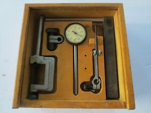 Vintage Craftsman Dial Indicator With Mount And Pivot Arm In Wood Case
