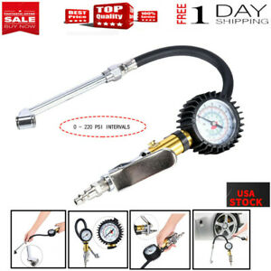 Air Tire 220p Pressure Inflator Gauge Chuck Air Compressor Hose With Dial