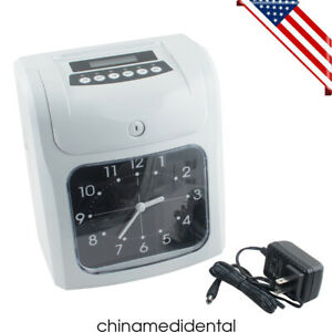 New Usa Electronic Employee Attendance Punch Time Clock Payroll Recorder Lcd Ups