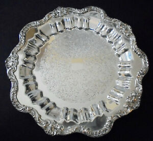 Ornate Coronet Silver Plate 13 Round Footed Tray Silver On Copper