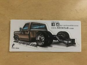 Gsim Fabrication C10 Square Body Chevy Sticker Decal Off Road Racing Tool Box 4