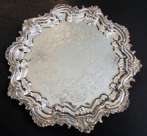 Ornate International Silver Plate 13 Round Footed Salver Tray