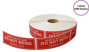 Handle With Care Do Not Bend Thank You Stickers 1x3 1000 Per Roll