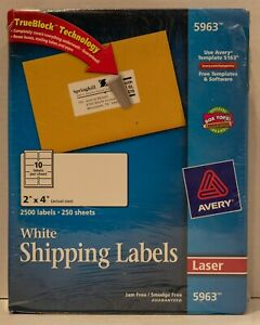 Avery 5963 White Shipping Labels 2 X 4 250 Sheets 2 500 Laser Labels