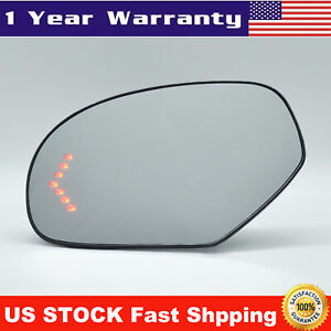 Mirror Glass Heated Turn Signal 7 Led Left Lh For Cadillac Chevy Gmc Pickup Suv