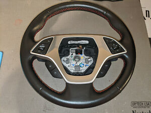 Round Steering Wheel Auto Black Red Stitching 23231480 Oem C7 Corvette 2014 2019
