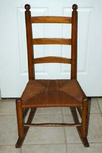 Antique Shaker Ladder Back Rocking Chair Rush Seat Acorn Finials 1800s 1900s