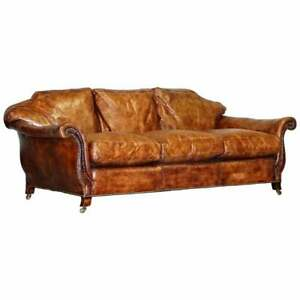 Very Rare Fully Restored Gentleman S Club Brown Leather Feather Filled Sofa