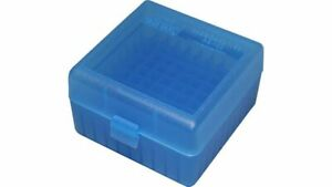 MTM PLASTIC AMMO BOXES (5) CLEAR BLUE 100 Round 223  5.56  MORE-FREE SHIPPING $36.00