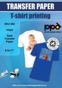 Ppd Inkjet Iron on Dark T Shirt Transfers Paper Ltr 8 5x11 Pack Of 20 Sheets