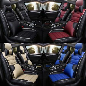13pcs Car Seat Cover Leather Full Set Front Rear Cushion Protector Universal Fit