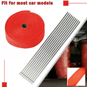 2 x 50ft 1 Roll 10 Ties Kit Exhaust Wrap Manifold Header Pipe Heat Wrap Tape Red