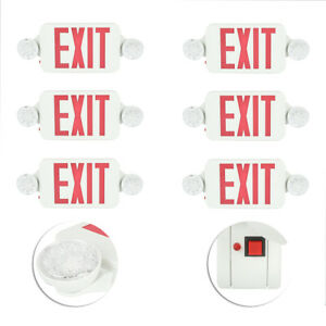 Led Emergency Exit Light Lamp Lighting Fixture Twin Round Heads Universal 6 Pack