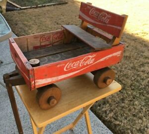 Coca Cola Wooden Crate Box Wagon with bench seat Coke Soda Pop Wood Red Vintage