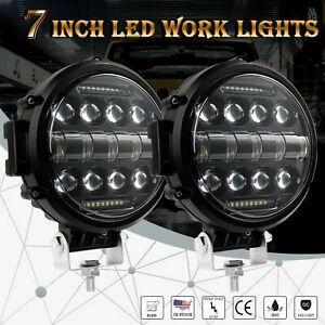 2x 7 Inch Led Work Light Bar Round Driving Fog Headlight Truck Offroad Combo Drl