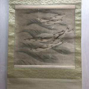 Japanese Painting Hanging Scroll Antique Picture River Fish Ayu D828