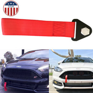 Jdm Red Sport Racing Tow Belt Strap Front Rear Bumper Tow Hook For Honda Nissan