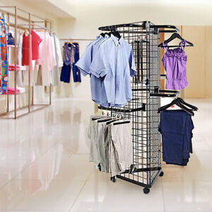 Display Grid Rack 3 Panel Triangle Rolling Metal Retail Wall Craft Show 6 Stand