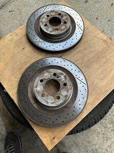 08 14 W204 Mercedes C63 Amg Rear Left Right Brake Rotors Drilled