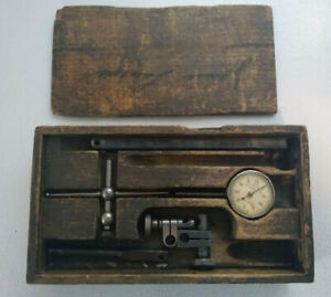 Vintage Starrett No 196 Machinist Dial Indicator With Wood Box 1