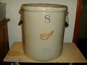 Antique Red Wing Union Stoneware 8 Crock With Bale Handles