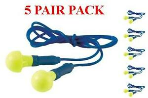 318 1001 3m Ear Push Ins Plugs With Safety Cord 5 Pair Pack Free Shipping