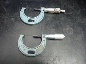 Lot Of 2 Mitutoyo Outside Micrometers Calipers 103 178 1 2 001