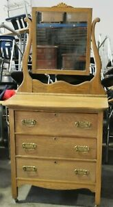 Golden Oak Three Drawer Antique Dresser With Mirror