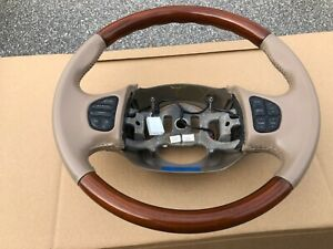 1997 02 Ford F 250 F 350 Excursion Navigator Tan Leather Wood Steering Wheel