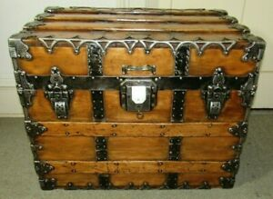 Antique Steamer Trunk Taylor Professional Ornate Flat Top Chest Tray