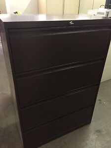 4dr 36 w Lateral Size File Cabinet In Brown Color W Lock Key Pick Up Only