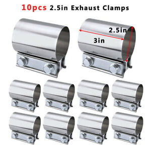 10pcs 2 5 Inch Premium Stainless Steel Butt Joint Exhaust Band Clamps F
